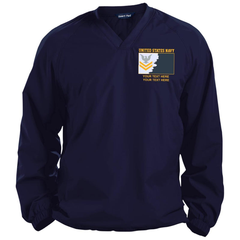 US Navy E5 Gold - Stripe Petty Officer Second Class PO2 Rating Badge Personalized Embroidered Sport-Tek® Pullover V-Neck Windshirt
