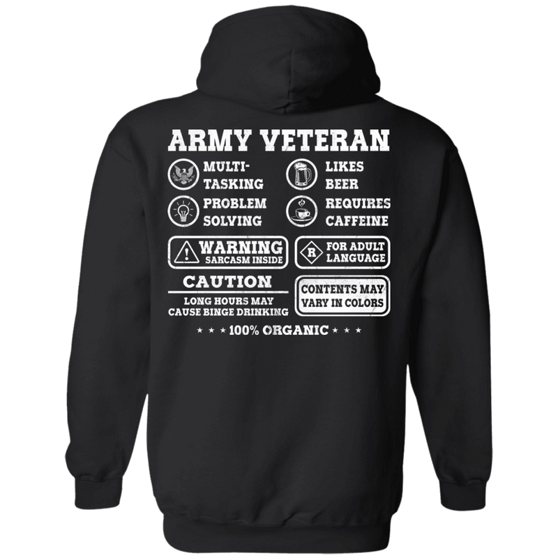 Army Veteran Multitasking Sarcasm Men Back T Shirts