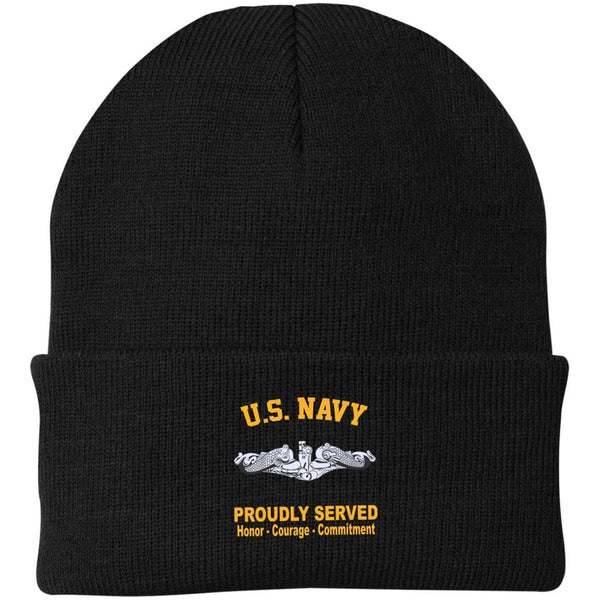 US Navy Submarine Proudly Served Embroidered Port Authority Knit Cap