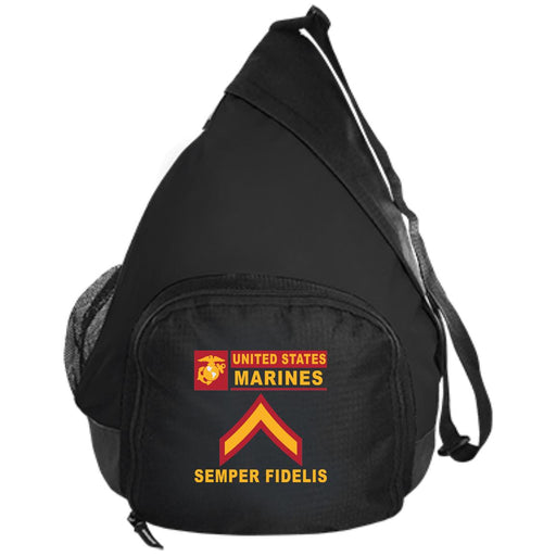USMC E-2 Private First Class E2 PFC Junior Enlisted- Semper Fidelis Embroidered Active Sling Pack