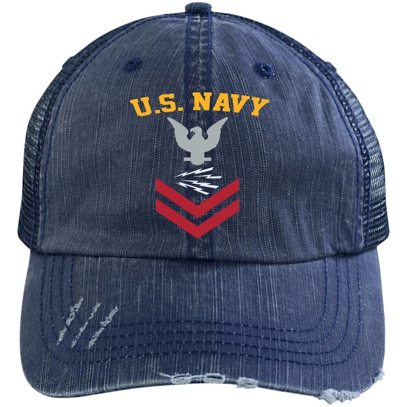 US Navy Radioman RM E-5 Rating Badges Embroidered Distressed Unstructured Trucker Cap