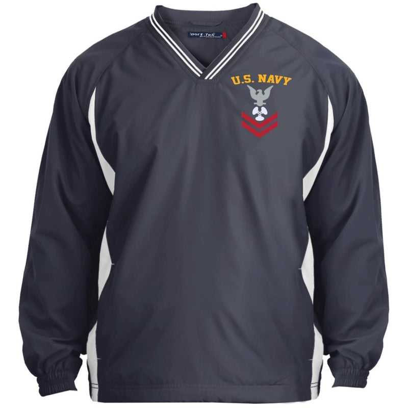 US Navy Machinist's Mate MM E-5 Rating Badges Embroidered Sport-Tek Tipped V-Neck Windshirt