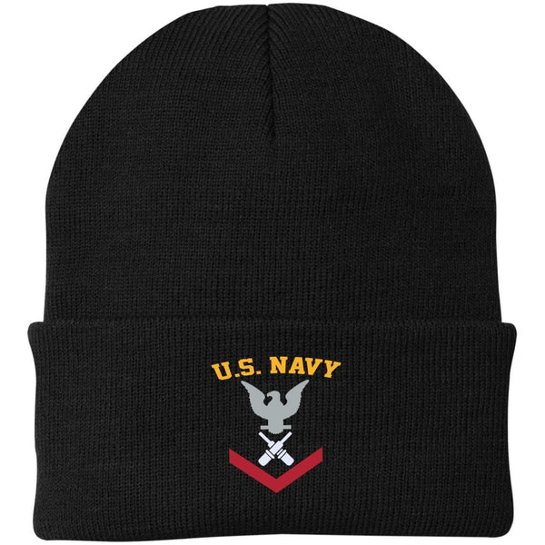 US Navy Gunner's Mate GM E-4 Rating Badges Embroidered Port Authority Knit Cap