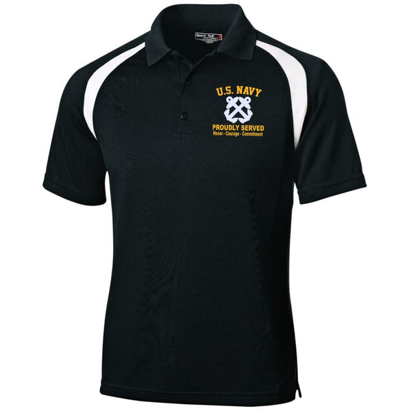 US Navy Boatswains Mate BM Logo Embroidered Sport-Tek Moisture-Wicking Tag-Free Golf Shirt