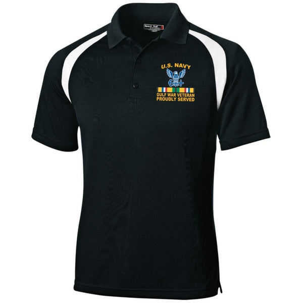 US Navy Gulf War Veteran Proudly Served Embroidered Sport-Tek Moisture-Wicking Tag-Free Golf Shirt