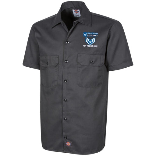 US Air Force E-5 Staff Sergeant SSgt E5 Noncommissioned Officer- Fly Flight Win Embroidered Dress Shirt - Workshirt