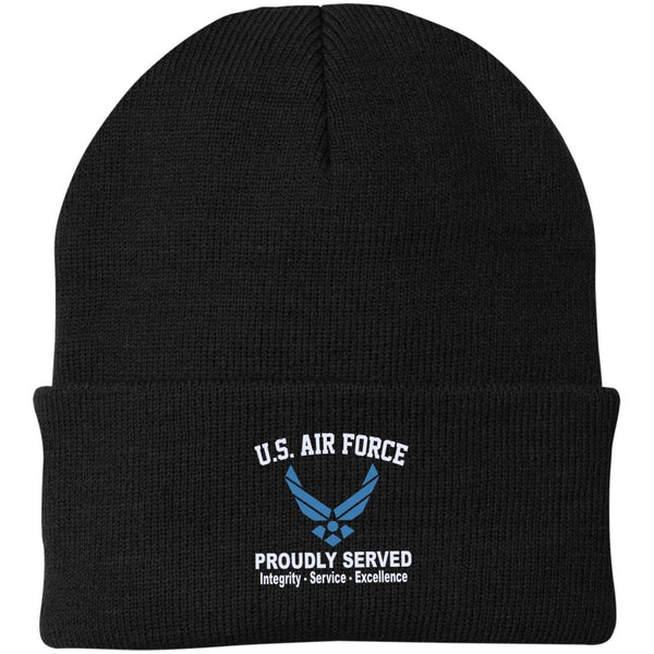 US Air Force Logo Core Values Embroidered Port Authority Knit Cap