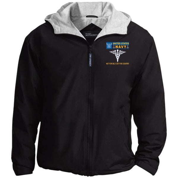 US Navy Hospital Corpsman HM- Not For Self, But For Country Embroidered - Fleece Lined Hooded  Team Jacket