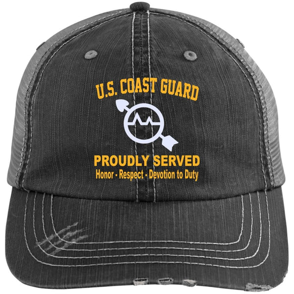 US Coast Guard Operations Specialist OS Logo Embroidered Distressed Unstructured Trucker Cap