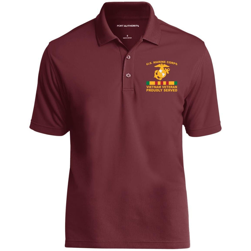 M.Corps VietNam Veteran Proudly Served Embroidered Port Authority Polo Shirt