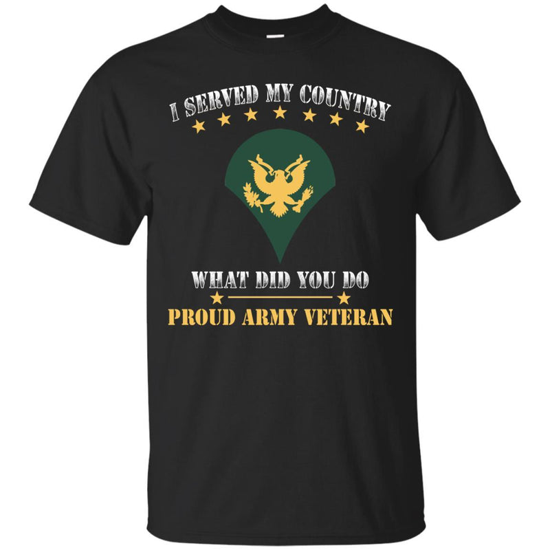 US Army E-4 SPC E4 Specialist Ranks Men Front T Shirt - Proud US Army Veteran