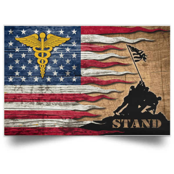 US Army Medical Corps Stand For The Flag Satin Landscape Poster
