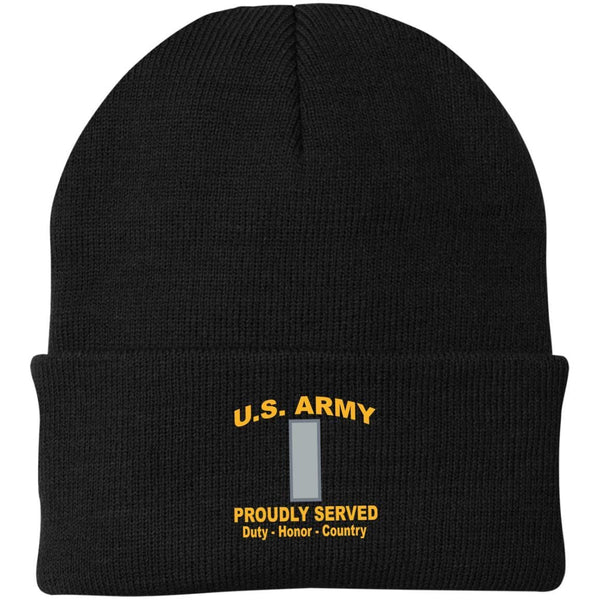 US Army O-2 First Lieutenant O2 1LT Proudly Served Military Mottos Embroidered Port Authority Knit Cap