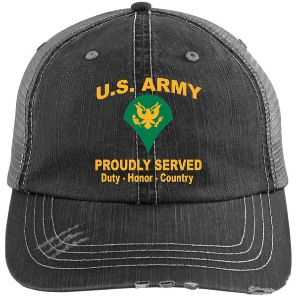 US Army E-4 SPC E4 SP4 Specialist 4 Specialist 3rd Class Proudly Served Military Mottos Embroidered Distressed Unstructured Trucker Cap
