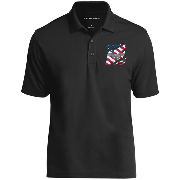 Navy Enlisted Aviation Warfare Specialist And American Flag At Heart Embroidered Polo Shirt