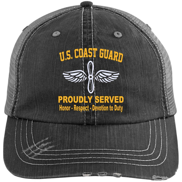 US Coast Guard Aviation Maintenance Technician AMT Logo Embroidered Distressed Unstructured Trucker Cap