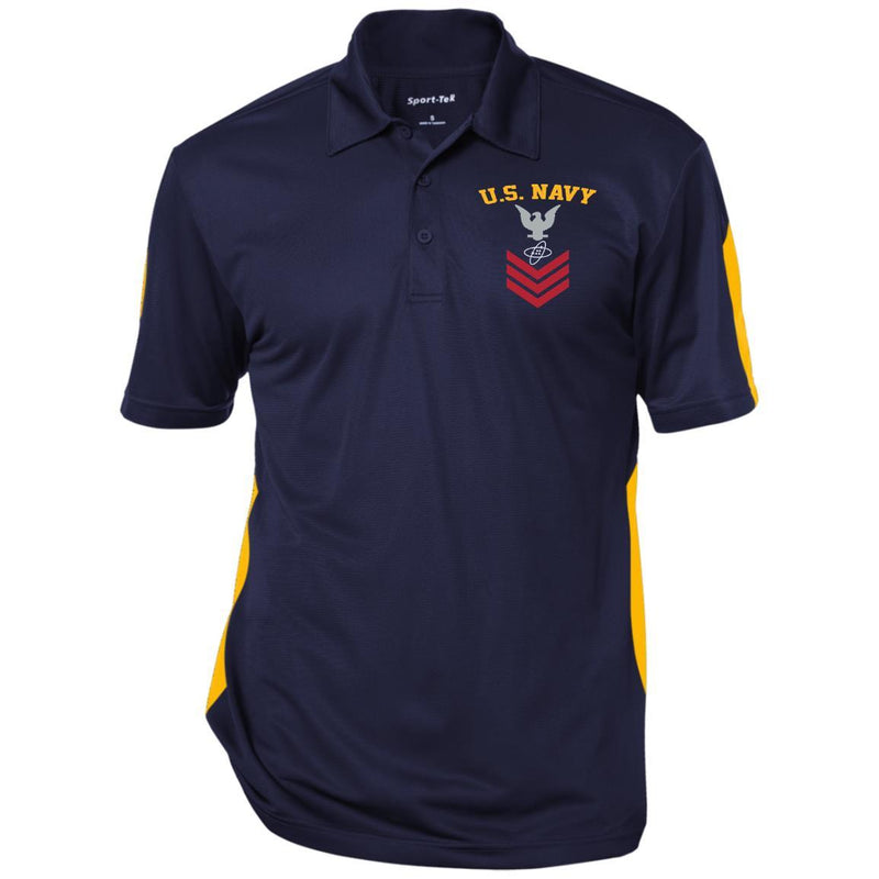 US Navy Electronics Technician ET E-6 Rating Badges Embroidered Sport-Tek Performance Polo Shirt