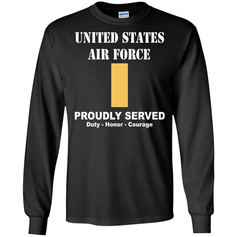 US Air Force O-1 Second Lieutenant 2d Lt O1 Commissioned Officer Ranks Men Front T Shirt For Air Force