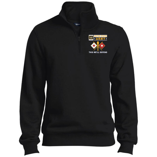 US Army Signal Corps- This we'll defend Embroidered 1/4 Zip Pullover