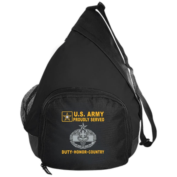 US Army Combat Medical 2nd Award Badge - Proudly Served-D04 Embroidered Active Sling Pack