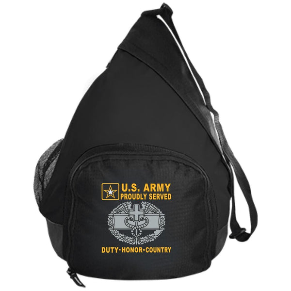 US Army Combat Medical 1st Award Badge - Proudly Served-D04 Embroidered Active Sling Pack
