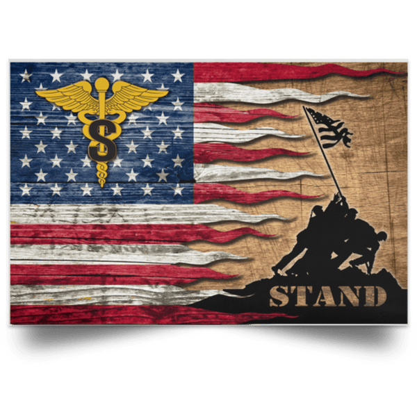 US Army Medical Specialist Corps Stand For The Flag Satin Landscape Poster