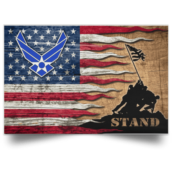 US Air Force Symbol Stand For The Flag Satin Landscape Poster