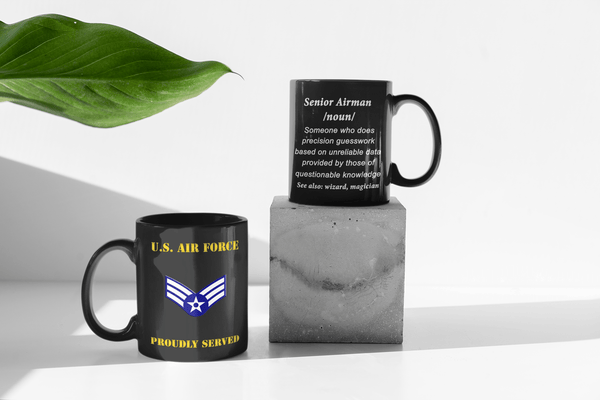 USAF E-4 Senior Airman Definition 11 oz. Black Mug