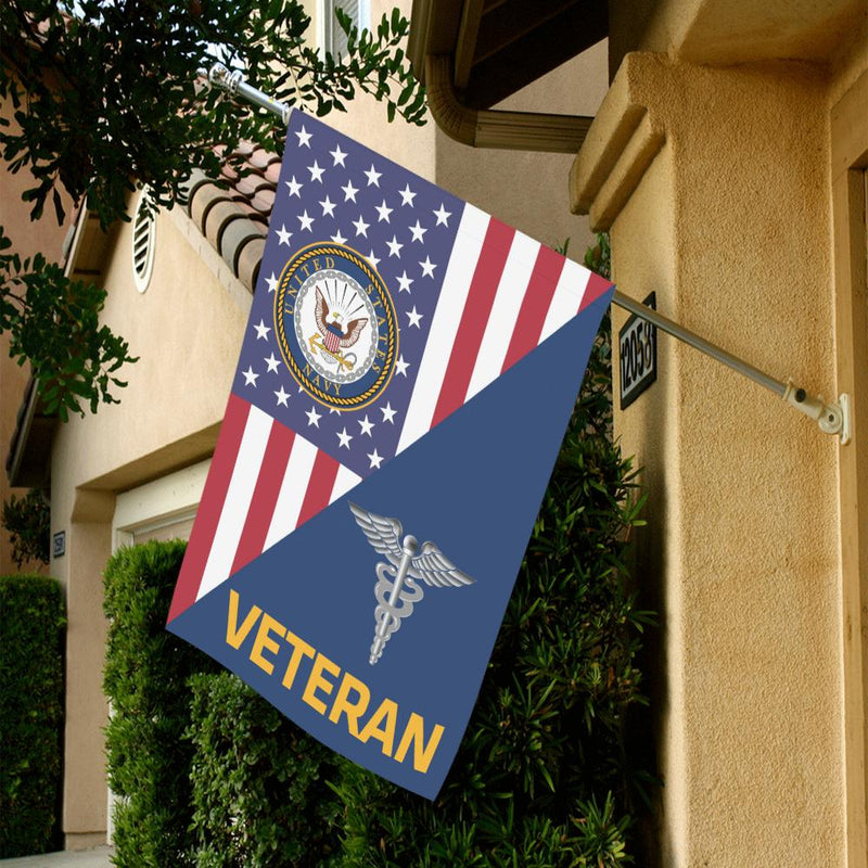 US Navy Hospital Corpsman Navy HM Veteran House Flag 28 inches x 40 inches Twin-Side Printing