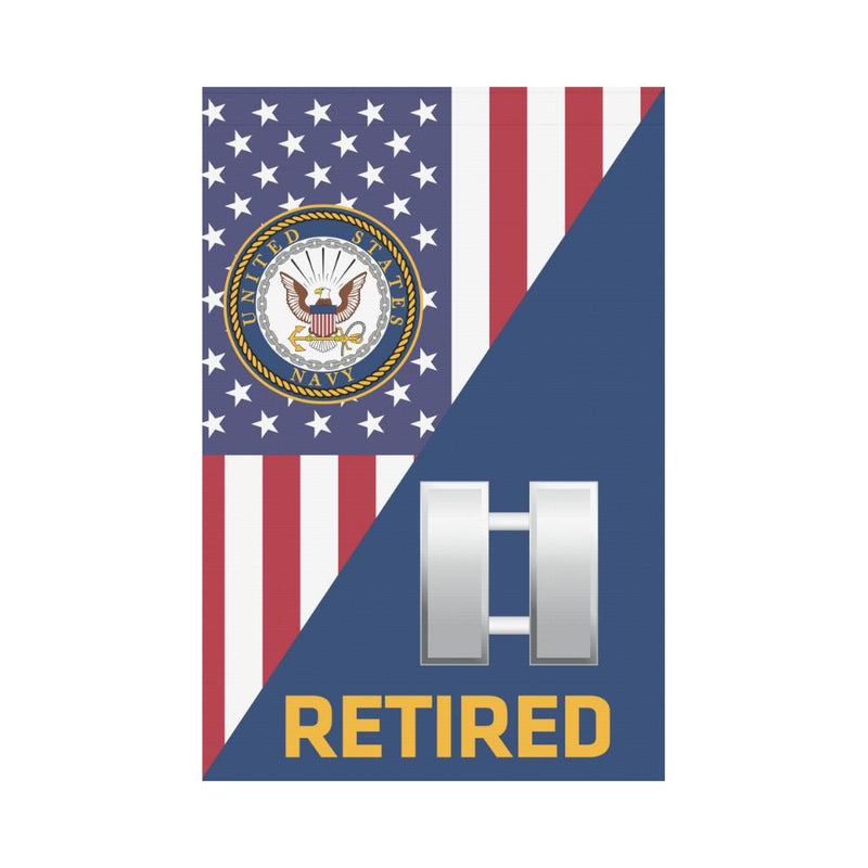 US Navy O-3 Lieutenant O3 LT Junior Officer Retired Garden Flag/Yard Flag 12 inches x 18 inches Twin-Side Printing