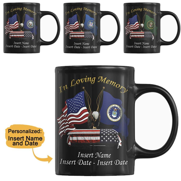 """ In Loving Memory "" Black Mug - Personalized Name and Date"