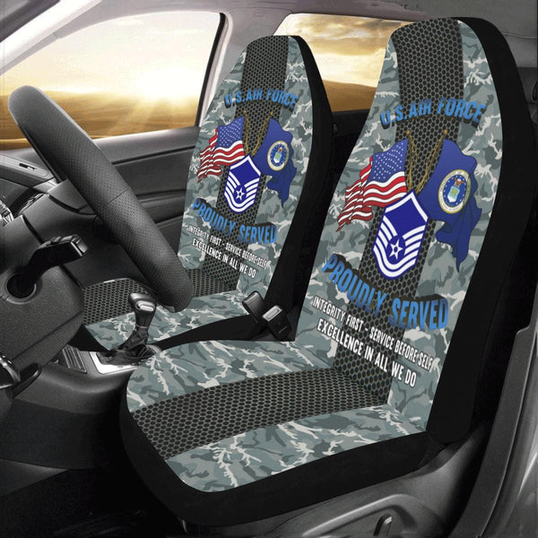US Air Force E-7 Master Sergeant MSgt E7 Noncommissioned Officer Car Seat Covers (Set of 2)