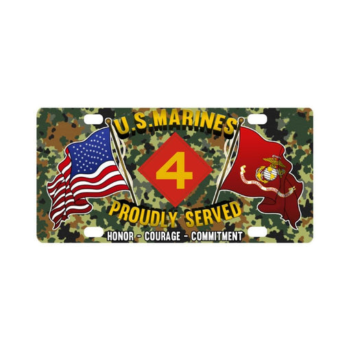 US Marine Corps 4th Division Classic License Plate Classic License Plate
