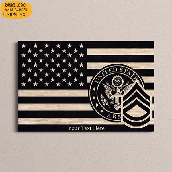 Personalized Army Canvas - Black/White American Flag With Army Ranks/Insignia - Personalized Name & Ranks
