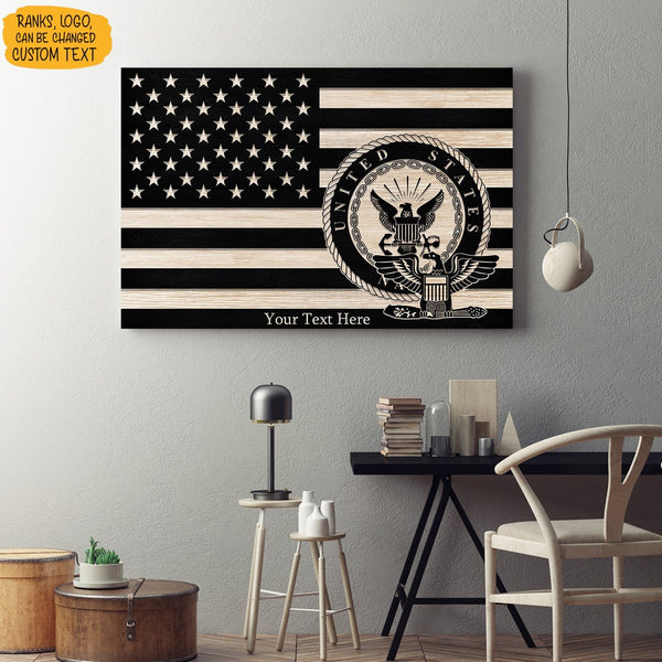 Personalized Navy Canvas - Black/White American Flag With Navy Ranks/Insignia - Personalized Name & Ranks