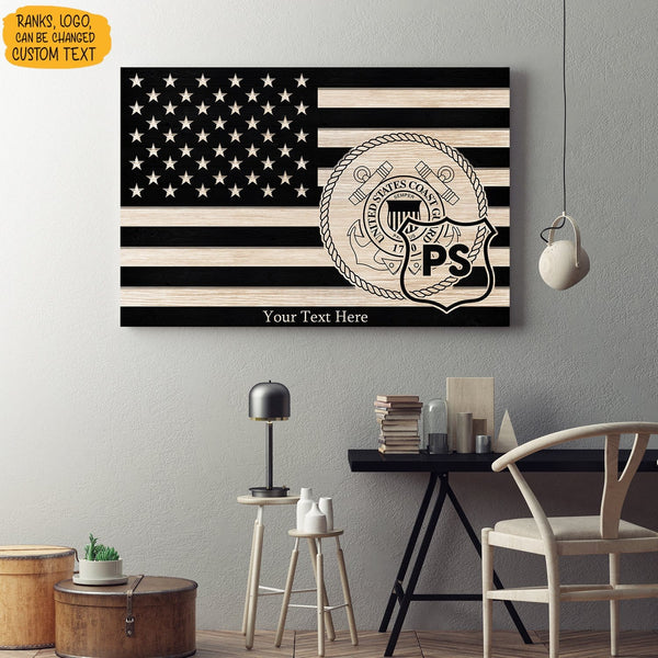Personalized USCG Canvas - Black/White American Flag With USCG Ranks/Insignia - Personalized Name & Ranks