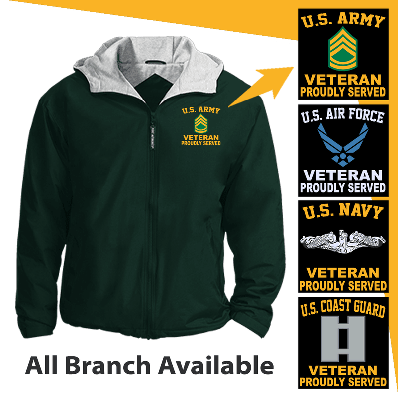 US Military Insignia Veteran Proudly Served Embroidered Team Jacket
