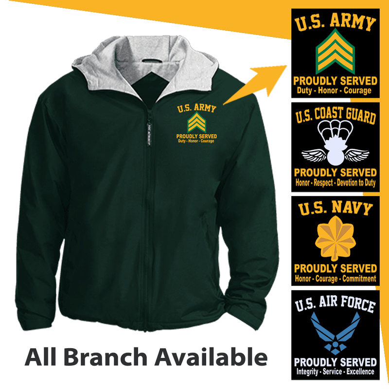 US Military Insignia Proudly Served Core Values Embroidered Team Jacket
