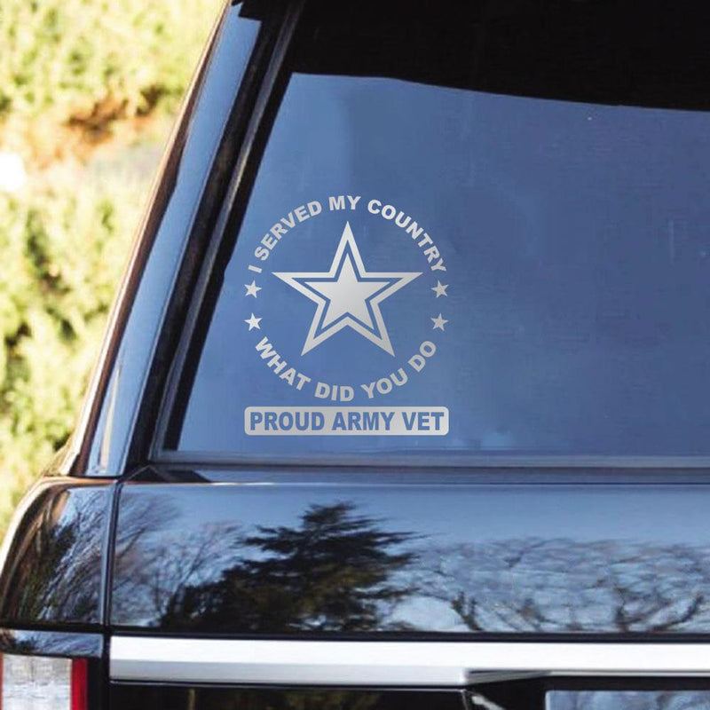 I Served My Country, What Did You Do  Proud Military Veteran Clear Stickers