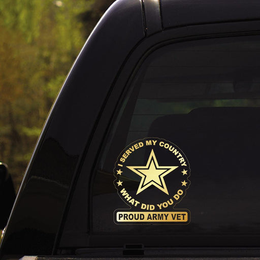 """ I Served My Country, What Did You Do "" Proud Military Veteran Clear Stickers"