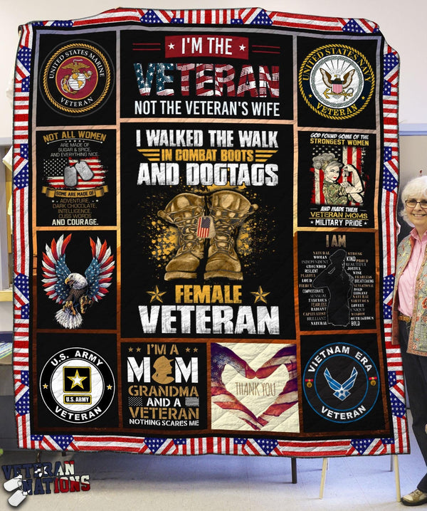 I'm the Veteran, not the Veteran's wife - Female Veteran Blanket Quilt