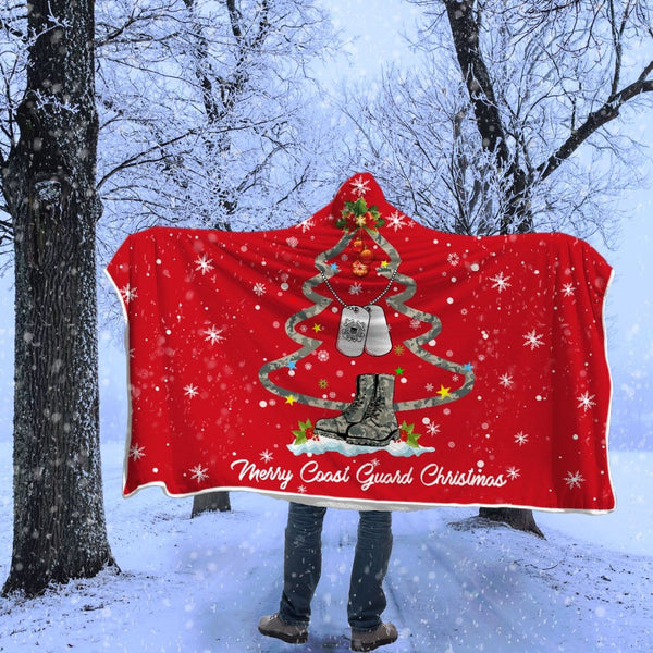 Merry Coast Guard Christmas Hooded blanket