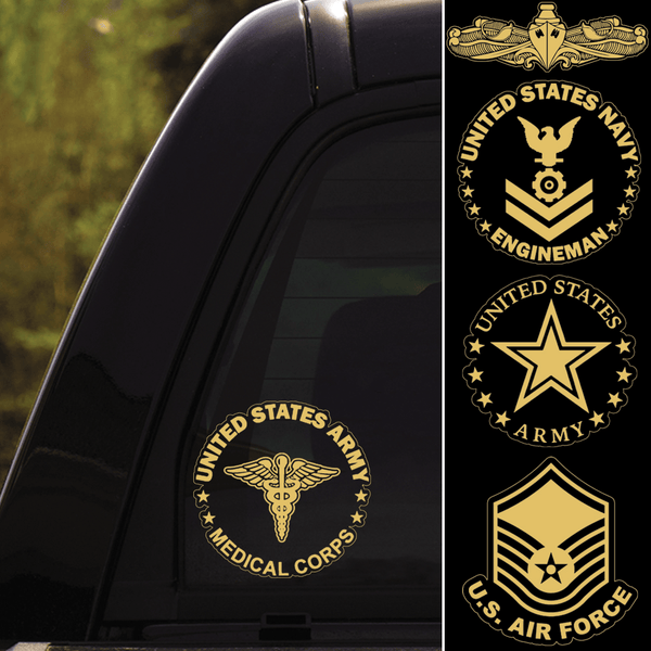 US Military Insignia Clear Stickers