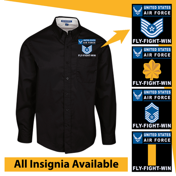 US Air Force Insignia Fly-Fight-Win Embroidered Dress Shirt