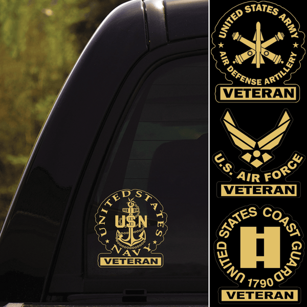US Military Insignia Veteran Clear Stickers