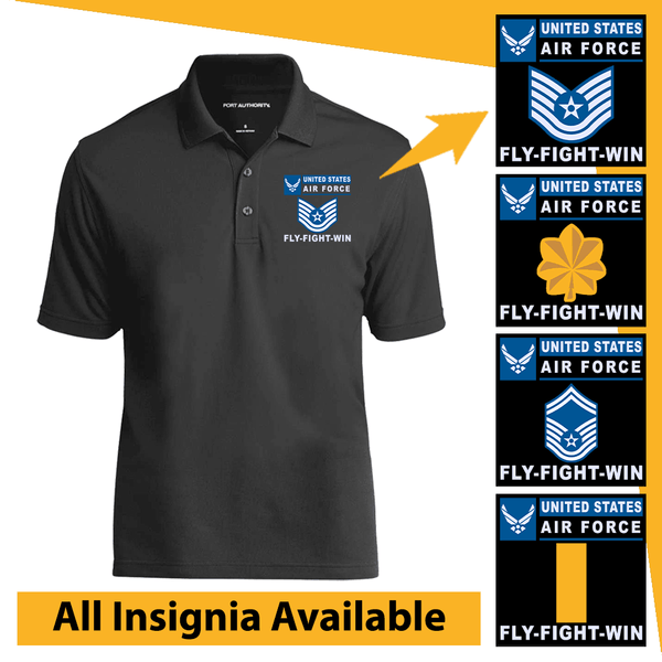 US Air Force Insignia Fly-Fight-Win Embroidered Port Authority Polo Shirt