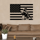 Soldier Military American Flag Wall Decal