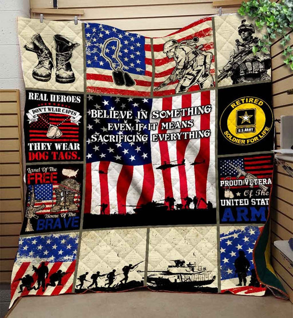 Proud U.S Army Retired, Soldier For Life Blanket Quilt