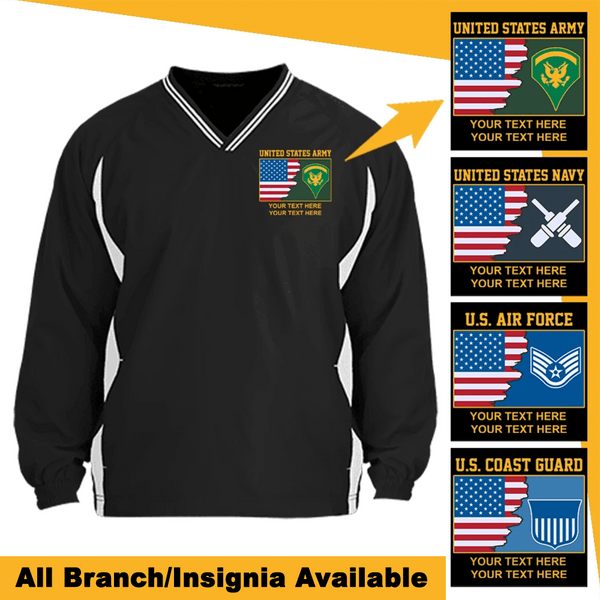 Personalized USA Flag with Military Logo/Insignia and Text Embroidered Windshirt