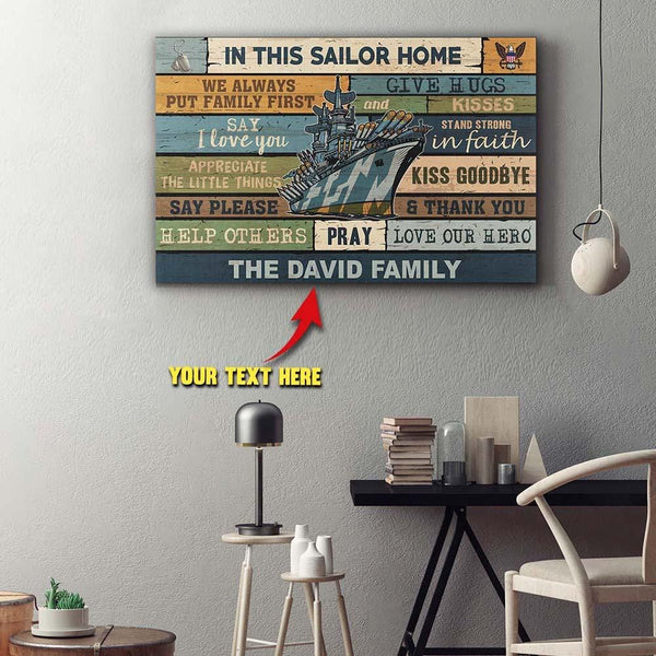 Personalized Canvas - In This Sailor Home - Customize Your Family Name